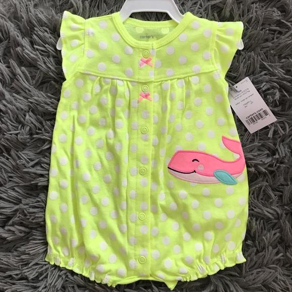 2bd83f002c4 Carter s baby girl polka dot whale snap up romper